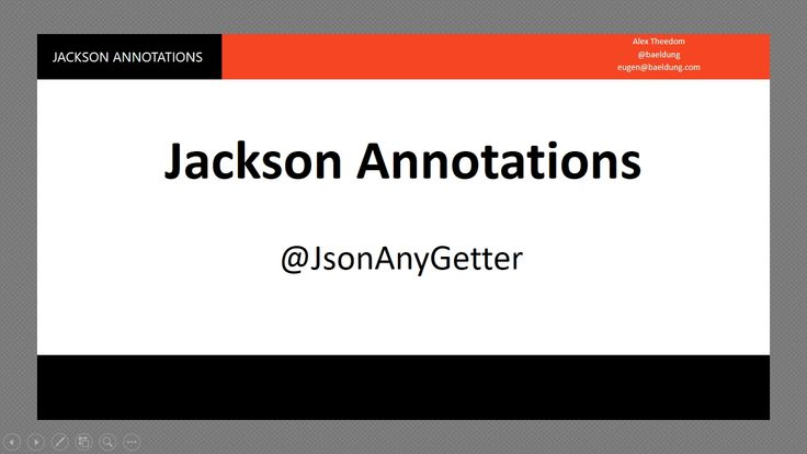 Learn about the Jackson Serialization @JsonAnyGetter Video. The Last in a seven-part series exploring Jackson serialization of Java objects. In this video, I will show you how to use the JsonAnyGetter annotation to flatten a map of key-value pairs.