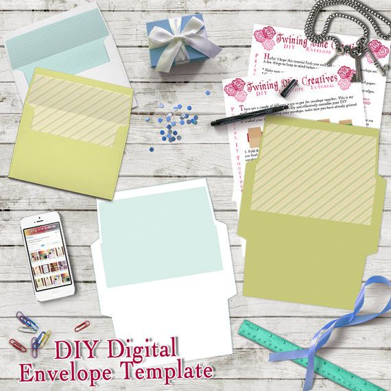 diy envelope template a7 5x7 envelope template digital download green and white envelope. Black Bedroom Furniture Sets. Home Design Ideas
