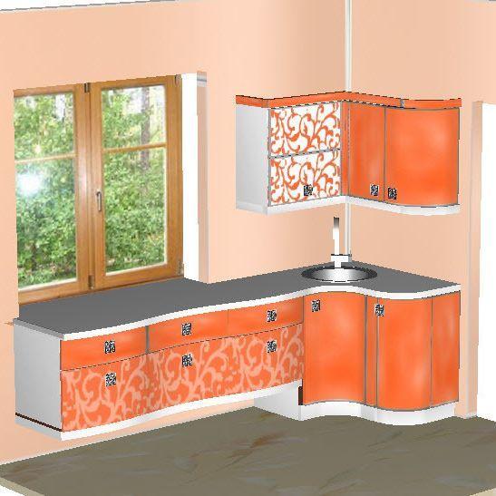 Кухня модерн, <b>фасады МДФ</b> крашеный, <b>стекло</b> диамант с ...