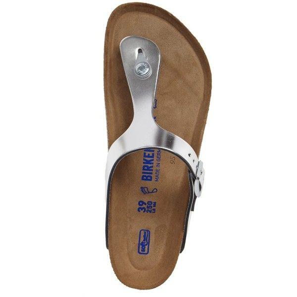 Women's Birkenstock Gizeh Soft Footbed Flip Flop (180 CAD) ❤ liked on Polyvore featuring shoes, sandals, flip flops, metallic shoes, leather footwear, birkenstock footwear, leather flip flops and birkenstock flip flops