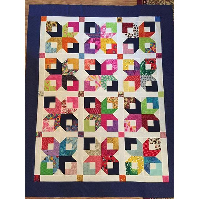 """This spectacular Boxy Stars share is by Laurie Vance who writes: """"Thank you, Bonnie, for this fun pattern! I was able to use the leftover scrub fabric (darkest blue) to make 2 quilts for the teenaged daughter's who lost their nurse mom to cancer. You are the best! ❤️"""" . .  Just gorgeous, Laurie!  Thanks for the share!  Boxy Stars has been a free pattern found under the free patterns tab at the top of my blog for me than 10 years now. It's a 2.5"""" strip favorite!  Have you made one? . .#quilt…"""
