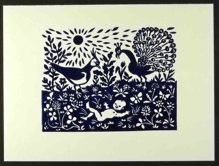 Linocut, peacock and lapwing birthcard