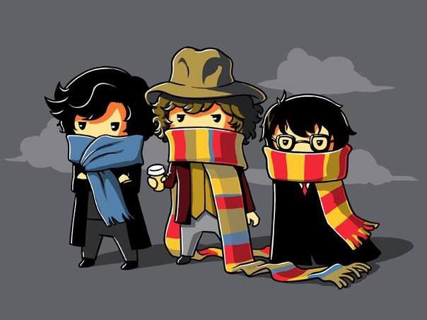 Sherlock, the Doctor & Harry Potter with lovely scarves! <3 :D