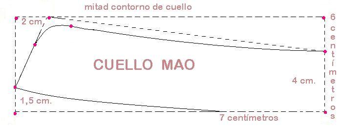 CUELLO MAO   Es un cuello muy simpático, sumamente sentador para personas con cuello (pescuezo) corto, elegante, con historia . Sale con muy...