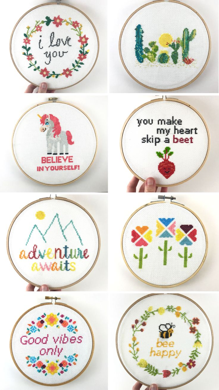 These are beautiful cross stitch patterns from Leia Patterns. These are elegant and modern cross stitch designs that are meant to be easy and exciting to stitch. Some of our most popular patterns include unicorn patterns, cactus cross stitch, and cross stitch quotes and sayings such as Adventure Awaits and I Love You. You can find all of these patterns at LeiaPatterns.com.
