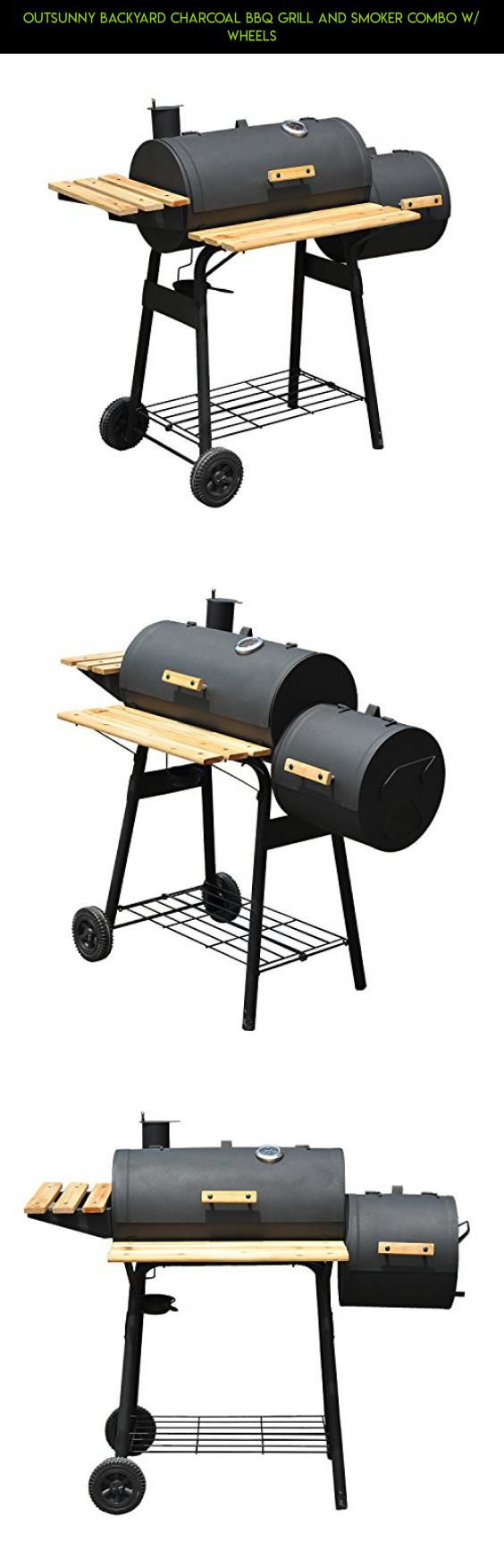 Outsunny Backyard Charcoal BBQ Grill and Smoker Combo w/ Wheels #plans #racing #tech #technology #products #shopping #drone #gadgets #grills #charcoal #bbq #parts #kit #fpv #camera