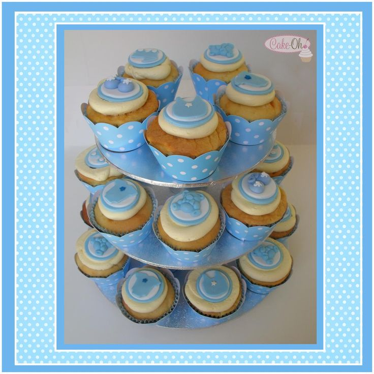 Baby Boy Cupcakes - perfect for a blue and white themed baby shower