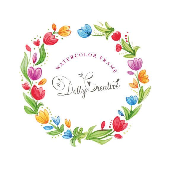 clipart, hand painted, watercolor, floral frame, 1 png file., high resolution, 300 dpi