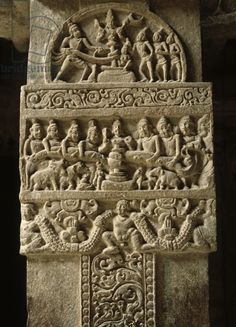 Detail of a relief with the Samudra Manthan, early Chalukya Dynasty (c.733