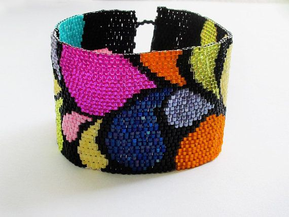 Colorful Peyote Cuff Bracelet Beaded by GlassHouseLampwork on Etsy