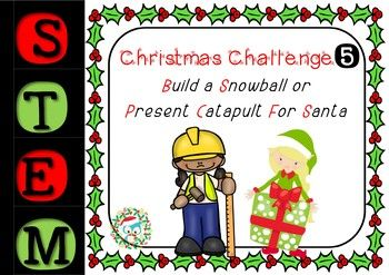 Christmas STEM Challenges - 1 to 5 - Catapult, Raft, Vehicle, Tree, Zip Line 1 - Build A Newspaper Christmas Tree 2 - Build A Wind-Powered vehicle For Santa 3 - Build A Waterproof Raft For Santa 4 - Build An Elf Zip-Line 5 - Build A Snowball or Present Catapult For Santa & His Elves