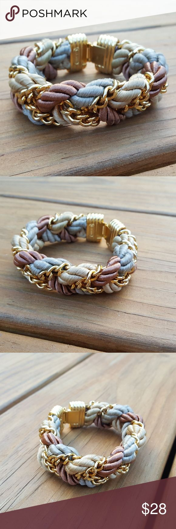 BaubleBar Braided Gold Rope Chain Bracelet This gorgeous bracelet features 3 neutral colored ropes with gold chain. It is in good pre-owned condition with some minor signs of wear such as some scratches on the claps. BaubleBar Jewelry Bracelets