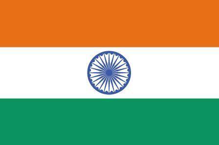 Indian Flag - The orange represents courage and sacrifice, green symbolises faith and chivalry, and white symbolises peace and truth. The blue chakra at its centre symbolises continuous vital energy.