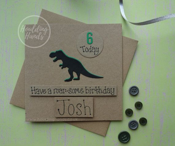 Dinosaur Birthday card T-Rex card for children Handmade