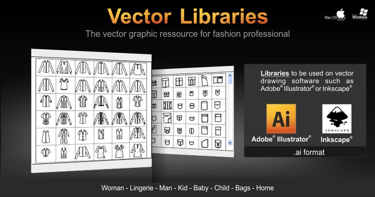 Discover all the graphics elements in vector format provided by C-DESIGN® to create your fashion collections. All drawings contained in the libraries are completely modifiable and editable on your software Adobe® Illustrator® or Inkscape®.   http://www.cdesignfashion.com/ver_us/illustrator.php