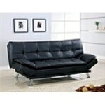 """Black Upholstered Button Tufted Adjustable Futon Sofa. Futon Sofa measures: 73""""x 37""""x 35.75""""H(Sofa) and 73""""x 46"""" x 17.5""""H (Bed). Some Assembly May Be Required. Futon sofa color options are: Brown and Black. - A.M.B. Furn"""