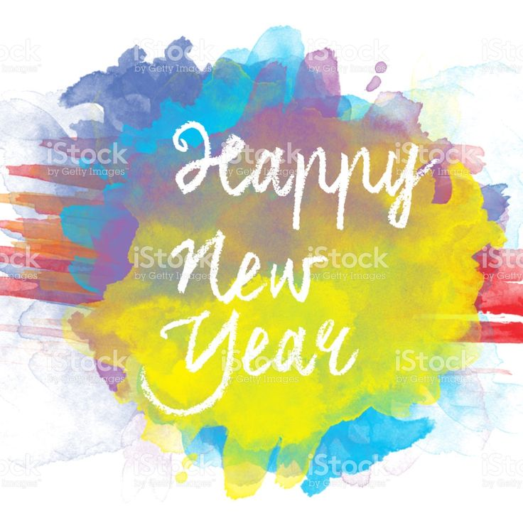 Happy New Year  Text in Watercolor Background royalty-free stock photo