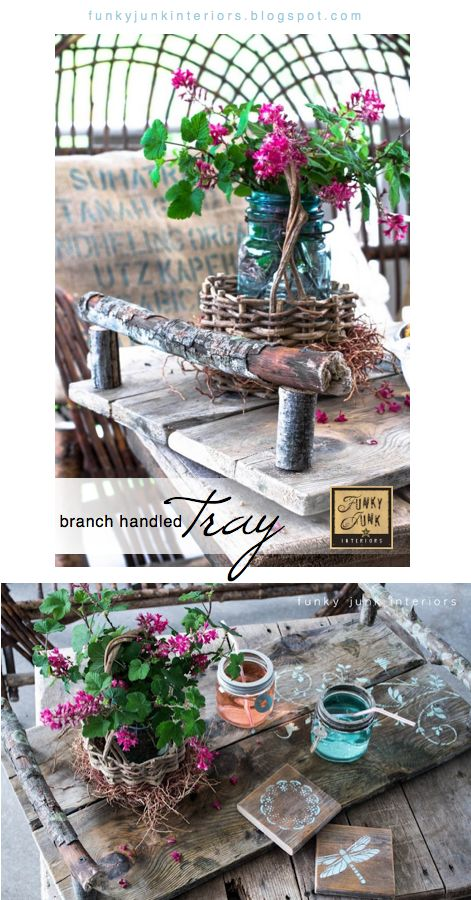 A rustic branch handled tray and coasters via Funky Junk Interiors.