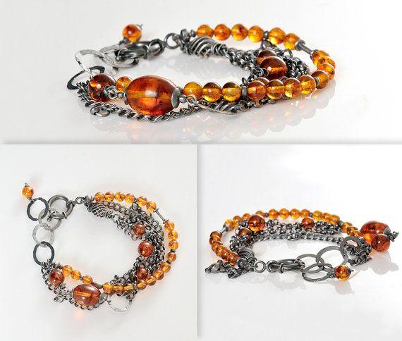 Amber Bracelet Cognac Amber Beads Burnished Silver by AnnaBujak