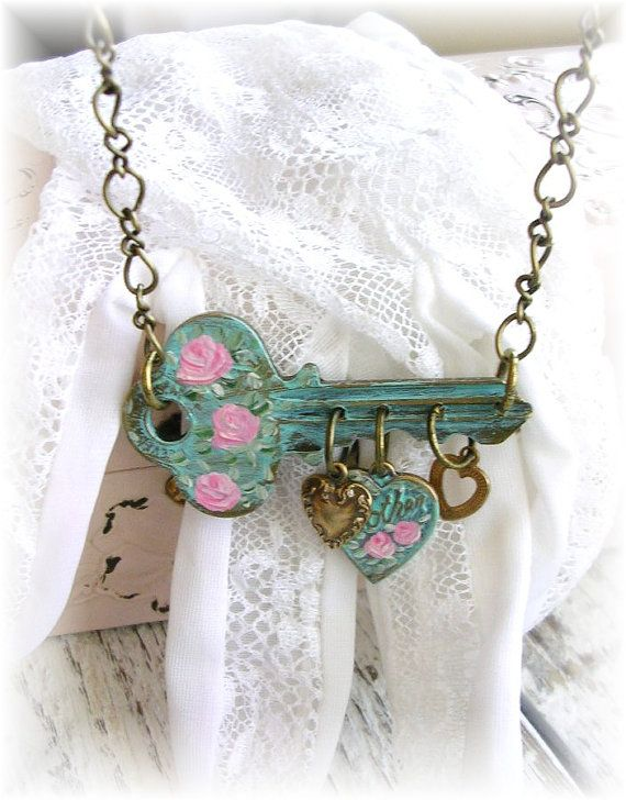 Vintage Key Charm Necklace Mother Hearts Shabby Chic by TheVintageHeart