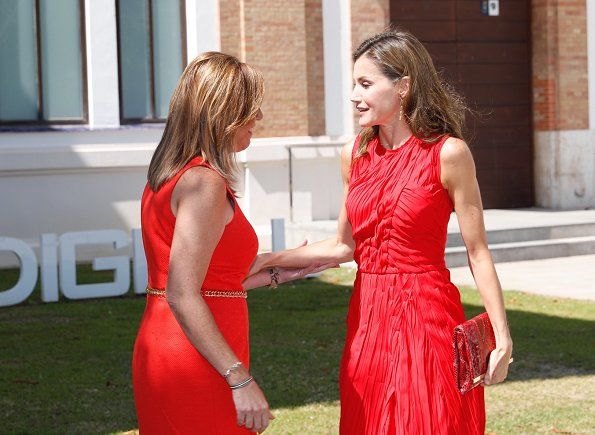 Queen Letizia of Spain attended the annual meeting of Cervantes Institutes with directors of Cervantes Institutes at St Petersburg Russian Art Museum (Colección del Museo Ruso San Petersburgo Málaga) in Malaga, Spain on July 24, 2017. Queen Letizia wore a red Plissé dress by Nina Ricci.