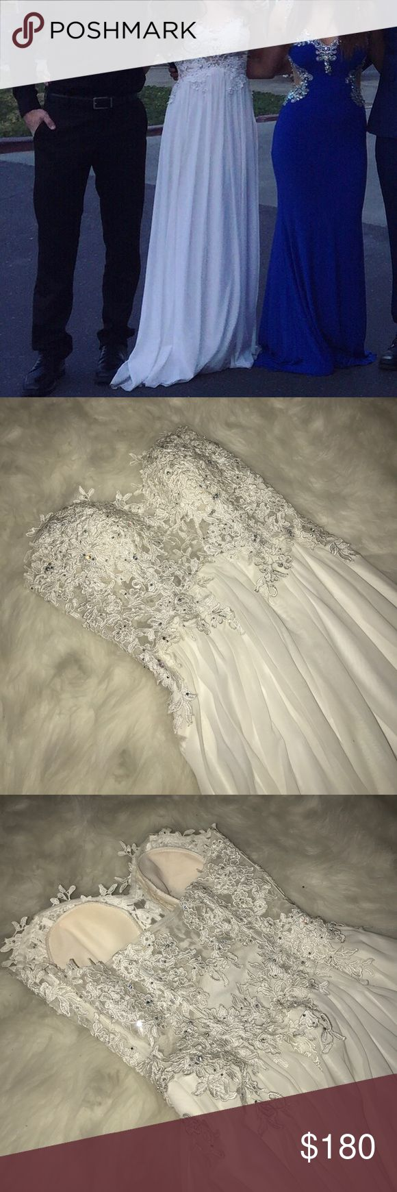 White Jovani Prom Dress Worn only twice and not altered! Very comfy dress and beautiful! I have no dry cleaned it so I will include that in the price unless you would personally like to dry clean it yourself! It's only the bottom of the dress that really needs the dry cleaning. 👗👗👗 Jovani Dresses Prom
