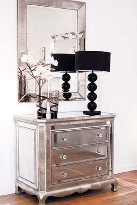 Charming Glamorous Furniture And Design Ideas   Mirror Furniture   Mirrored Furniture  Drawers And Lamp I This For Me The Dresser Pictures