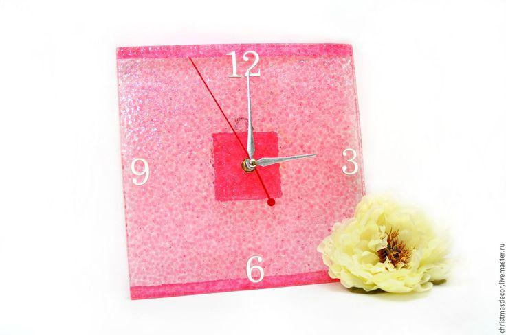 Купить Часы настенные розовые квадратные Розовый стиль женские - розовый, часы, настенные часы