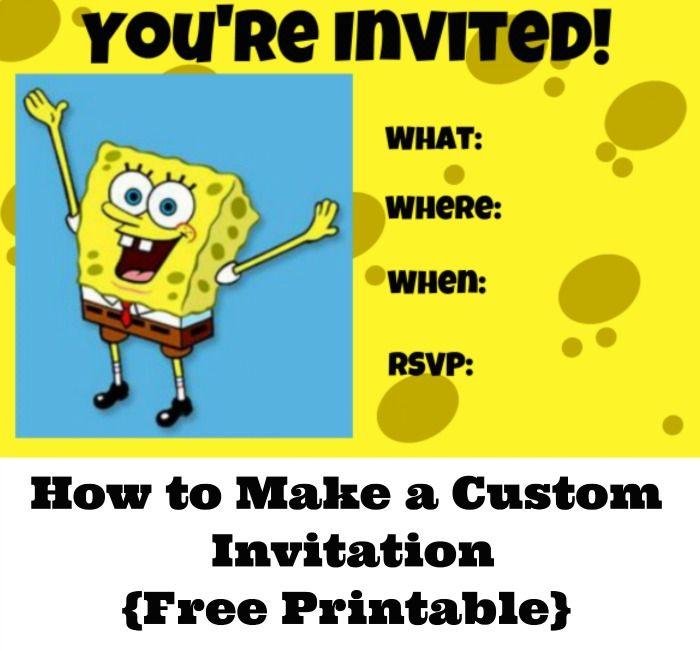 how to make a custom invitation for a spongebob