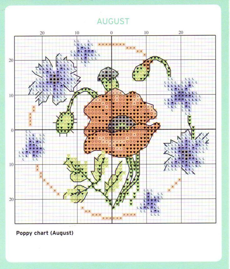 August Cross Stitch Chart