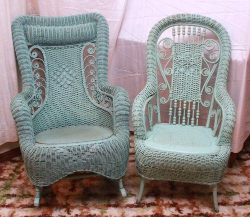 L635P LOT OF 2 ANTIQUE VICTORIAN WICKER ROCKING CHAIR AND CHAIR TURQUOISE BLUE | eBay