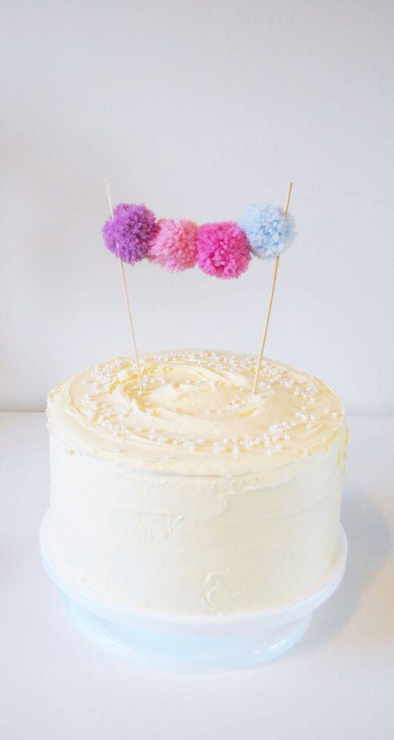 Fabulous Pom Pom Birthday Cake Topper/Bunting. Girls Birthday Party.