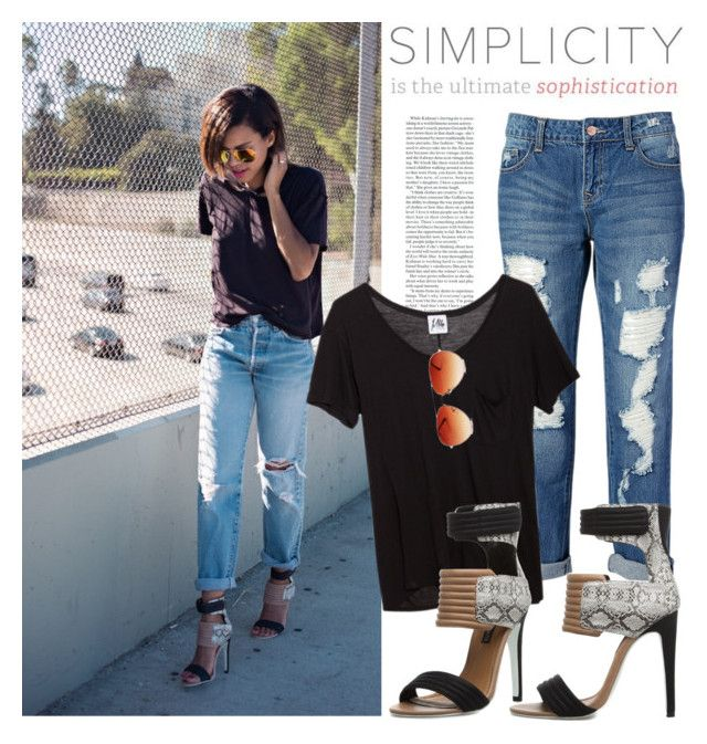 """""""Blogger style: Black T-shirt & Destructed Skinny Jeans & Heels"""" by hamaly ❤ liked on Polyvore featuring By eLUXE, Mlle Mademoiselle, Gemvara, women's clothing, women, female, woman, misses and juniors"""