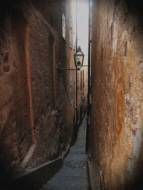 """""""Alley of Mårten Trotzig"""") is an alley in Gamla stan, the old town of Stockholm, ... down to a mere 90 cm, making the alley the narrowest street in Stockholm."""