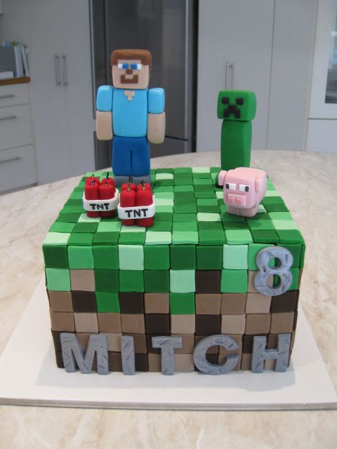 Minecraft cake with Steve and TNT candles - Homemade by Hollie.