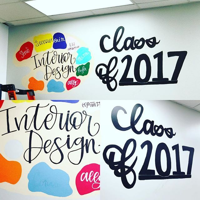 """Since I never posted about this when it was actually done- I might as well now. This was a mural-type thing I did with my Senior Interior Design class in our last semester!! I was so scared about messing up the """"class of 2017"""" because it had to be so big!!! Still a fav tho and I really wanna paint on a wall again 🎨😎🤙🏼 . . . #calligraphy #letter #interiordesign #classof2017 #paint #mural #pretty #colorful #class #wall #painting #art #love #like #follow #spam"""
