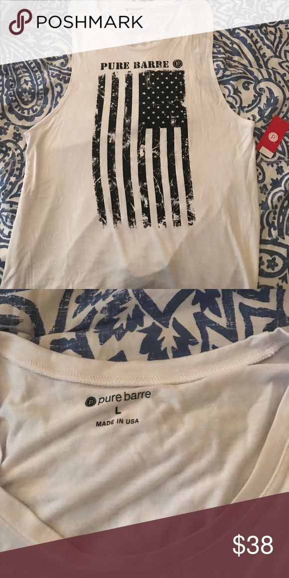 Pure Barre flag shirt Brand new with tags. White and black American Flag shirt Pure Barre Tops Muscle Tees