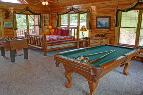 Wears Valley View -- Upstairs in the open loft is the second bedroom area, the second full bathroom, full size pool table, arcade game and foosball table.
