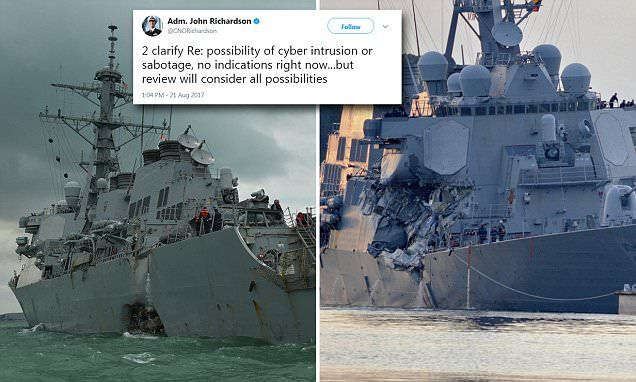 """#DailyMailUK .... """"Admiral John Richardson, the chief of naval operations, said on Monday that there were 'no indications' that the two ships were hacked, but said Navy 'will consider all possibilities'."""".... http://www.dailymail.co.uk/news/article-4811516/US-Navy-consider-crashed-warships-hacked.html"""