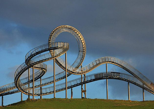 It looks like any old roller coaster, with curves and heart-stopping loops. But instead of zooming by, people are walking—on inclines fitted with steps. This creation in Germany's Rhine Valley is an interactive sculpture, but it's also one of the world's most unique staircases.