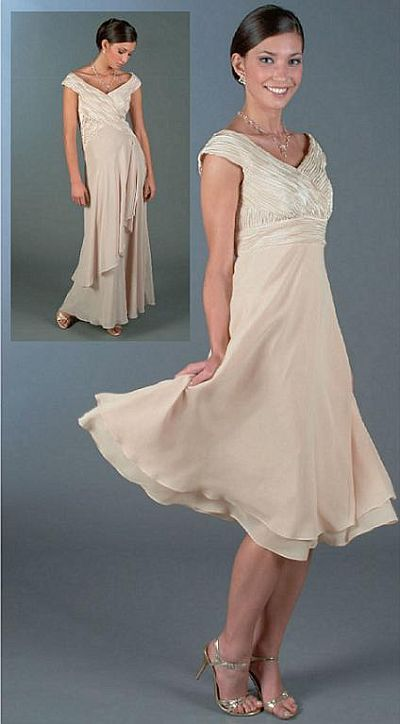 Ursula Tea Length Cap Sleeve Chiffon Cocktail Dress 11076