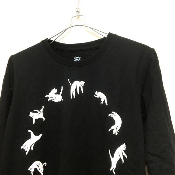 グラニフ Design Tshirts Store graniph ロングスリーブTシャツ カットソー 長袖 SS ブラック 黒 春秋 レディース_画像3