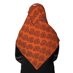Orange Colored Hijab with Black Flowers Geometric Foral Design Scarf