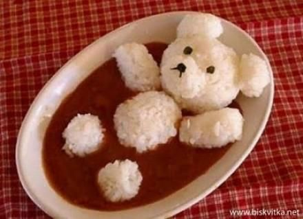 White Rice Bear in Tomato Based Soup or Stew. He could just as easily be bathing in chicken broth! How cute!