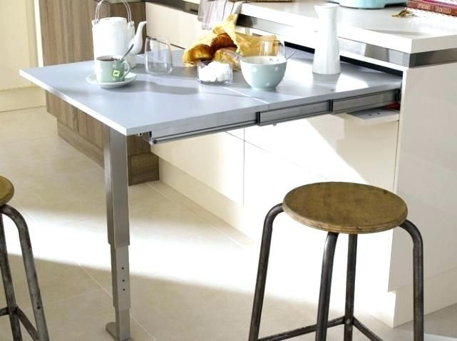 Table De Cuisine Retractable In 2020 Dining Table In Kitchen Kitchen Fittings Small Kitchen Storage Solutions