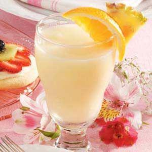 Pear Slushy Recipe: 1C pear, 1/4C OJ, 1/4C Pineapple juice, 2T honey, 6 Ice cubes - blend and serve