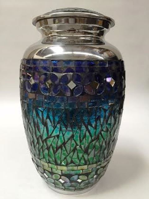 Adult Mosaic Blue and Green funeral cremation urn, Beautiful Memorial urns