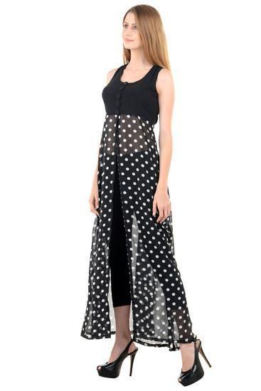 LadyIndia.com # Midi, New Design Black Plain Yoge with Black Polka Dotted Cape Long Dress, Western Dresses, Party Wear Dress, Midi, Maxi Dress, Mini Dress, Wedding Dress, Cocktail Party Gown, Imported Dresses, https://ladyindia.com/collections/western-wear/products/new-design-black-plain-yoge-with-black-polka-dotted-cape-long-dress