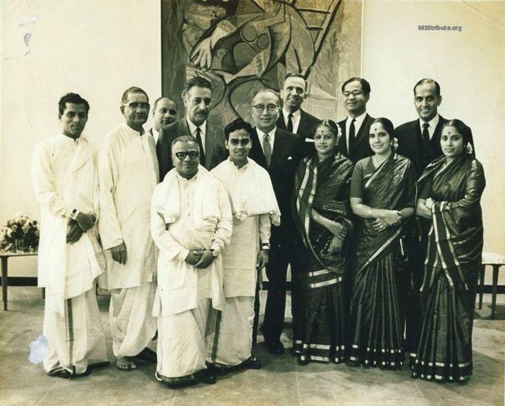 At United Nations - with Secretary General U Thant, C V Narasimhan and James Rubin — with V V Subramaniam, Sadasivam, Bombay Kannan, T.K.Murthy -The Mridangam Legend, Secretary General U Thant, James Rubin, M. S. Subbulakshmi, Radha Viswanathan, C V Narasimhan and Vijaya Rajendran.