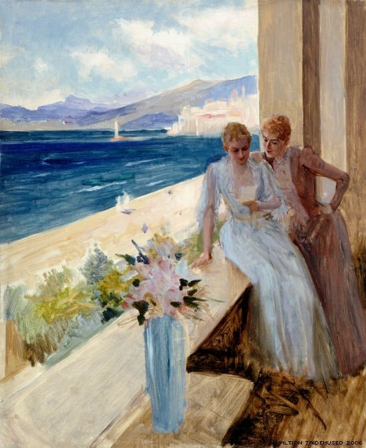 Edelfelt, Albert  Konstnärens hustru och Emelie von Etter på en altan i Cannes, 1891.